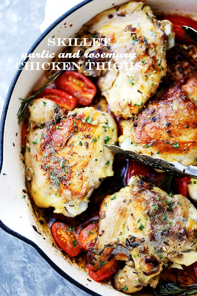 Skillet garlic and rosemary chicken thighs diethood skillet garlic and rosemary chicken thighs easy and quick one pot meal with delicious forumfinder Gallery