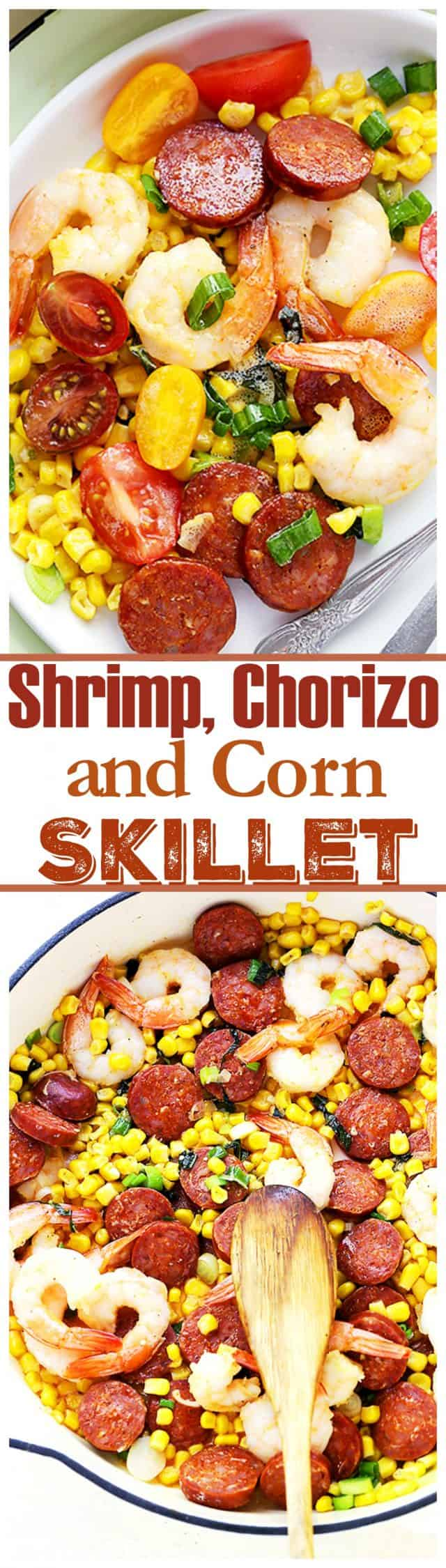 Shrimp, Chorizo and Corn Skillet - Easy one skillet meal packed with shrimp, tomatoes, corn and chorizo sausage.