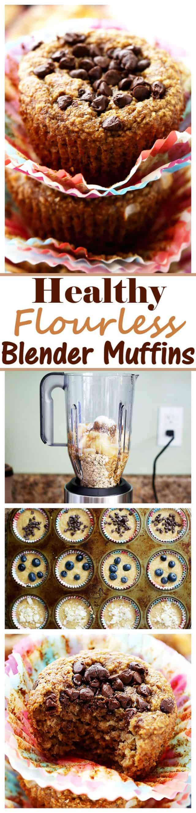 Healthy Flourless Blender Muffins - Super soft and healthy muffins packed with oats and bananas, and whipped up in the blender. SO delicious, you won't believe they are under 110 calories each!