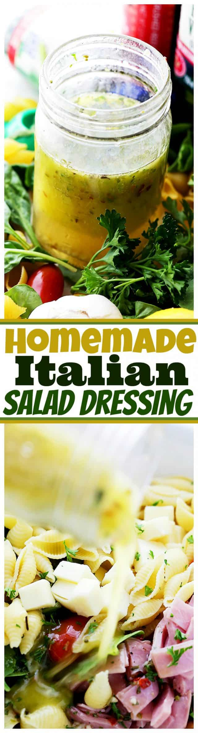 Homemade Italian Salad Dressing - This incredibly delicious, zesty Italian Dressing is so easy to make and so flavorful, you will never want to buy salad dressing again.
