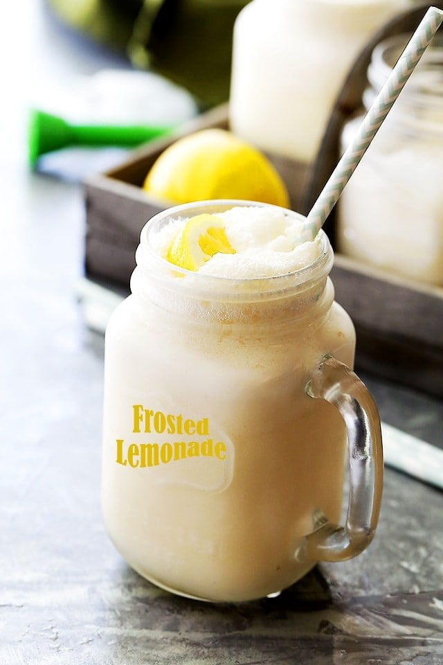 Frosted Lemonade served in a jar