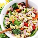 Italian Pasta Salad Recipe - Loaded with all your Italian favorites, like pepperoni, ham, tomatoes, spinach and cheese, this is the perfect pasta salad for any cookout, picnic or light summer meal.