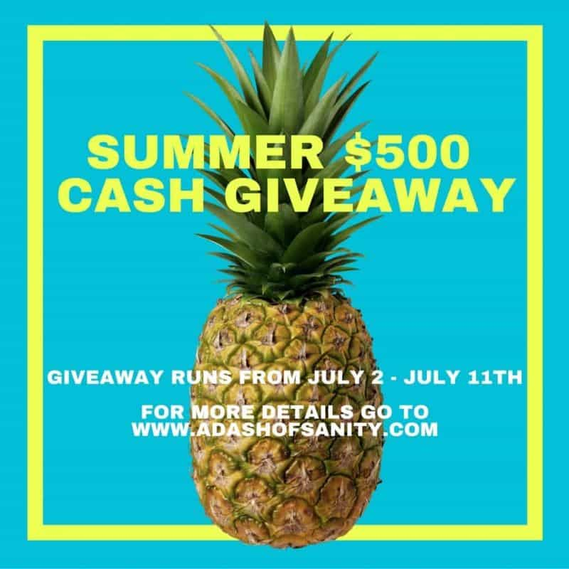 Summer $500 Cash Giveaway on blue background with a pineapple