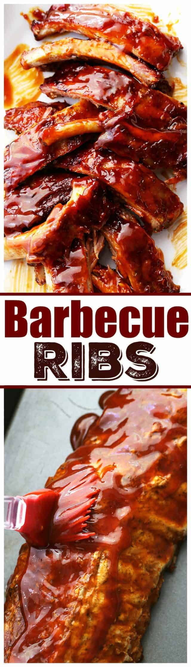 A Collage of Two Images of Barbecue Ribs with a Recipe Label Between Them