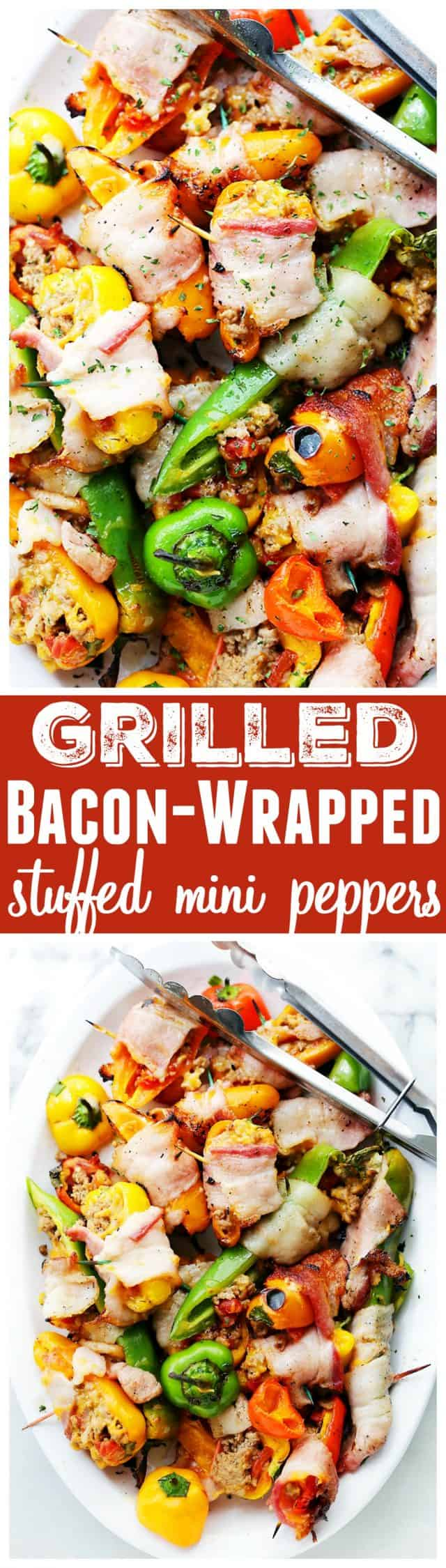 Grilled Bacon-Wrapped Stuffed Mini Peppers - Delicious bacon wrapped around tasty mini peppers stuffed with a flavorful ground turkey and tomatoes mixture, and cooked on the grill!