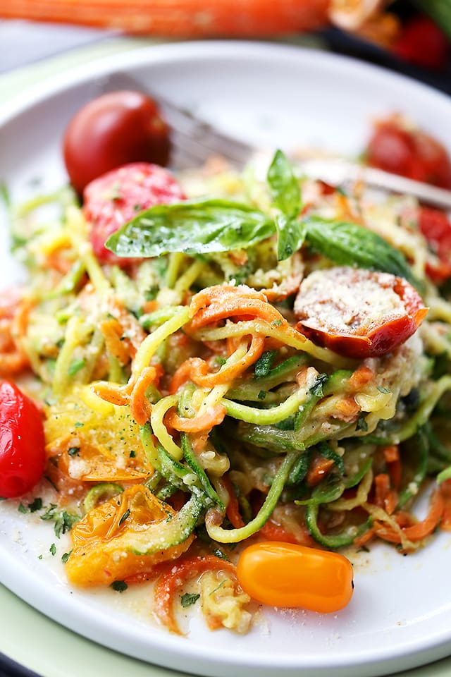 Carrot And Zucchini Noodles In Light Alfredo Sauce   Quick, Easy, And  Healthy Dish