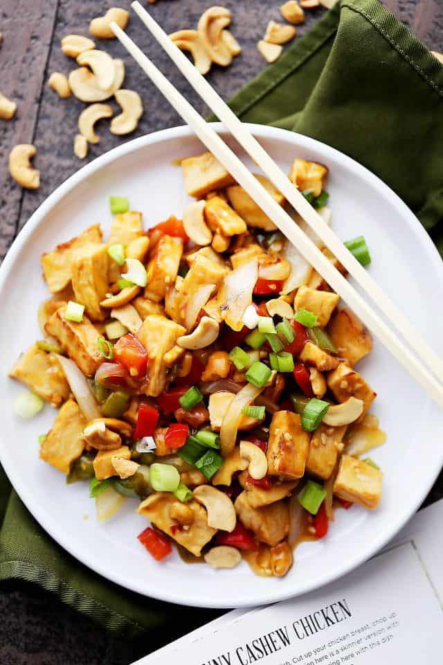 30-Minute Skinny Cashew Chicken - Delicious, lightened-up cashew chicken ready in just 30 minutes! And it's soooo much better than take-out!
