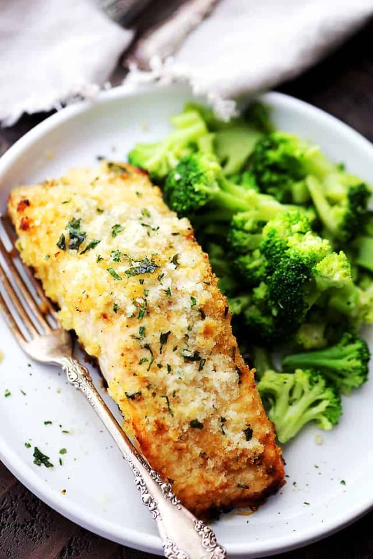 Baked honey mustard salmon with a side of broccoli.