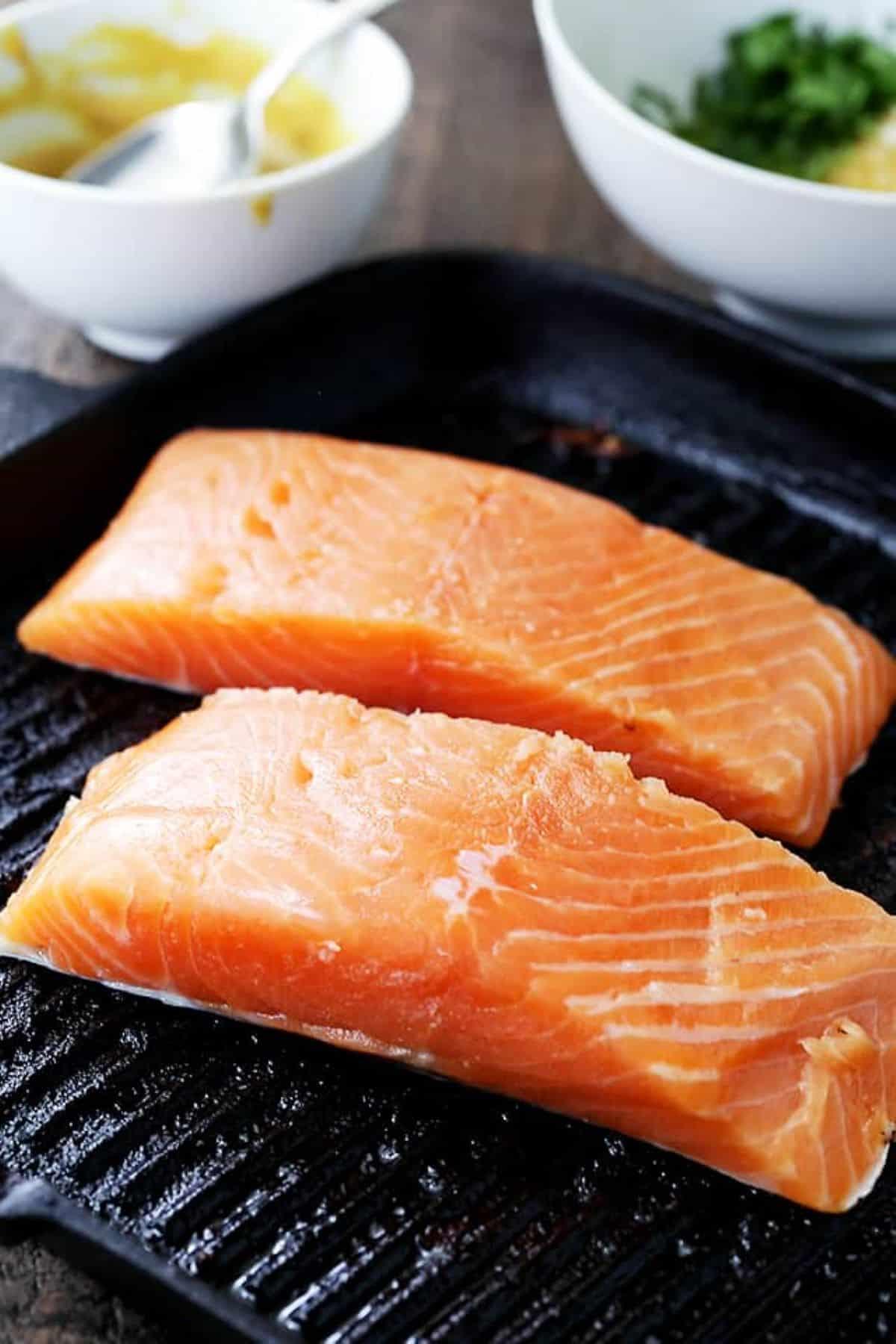 Sliced raw salmon fillets.