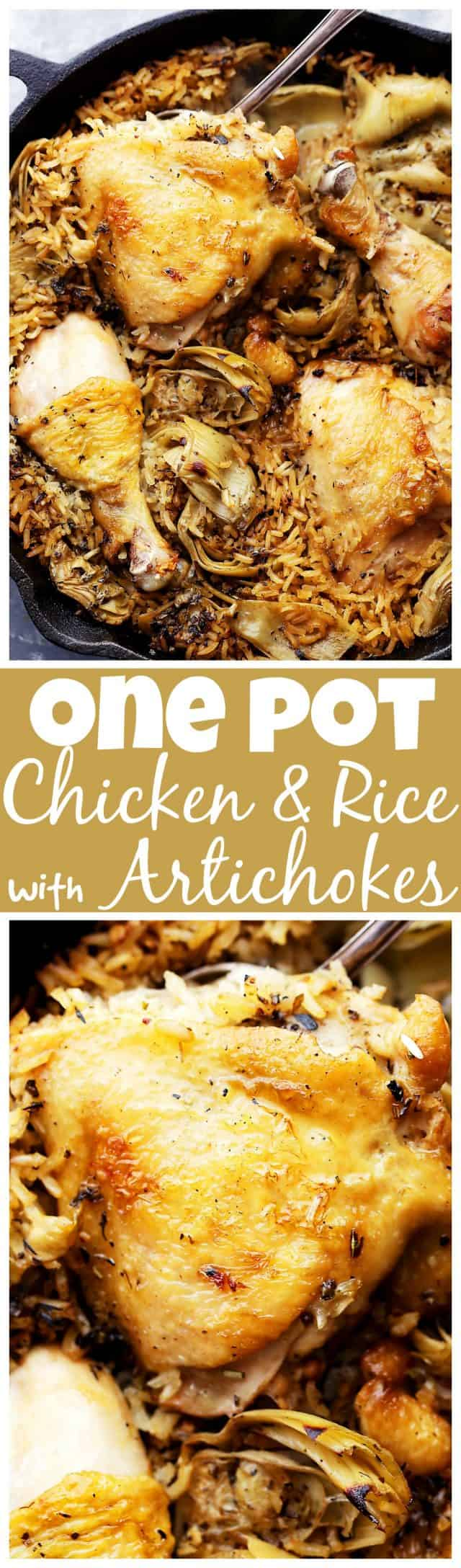 One Pot Chicken and Rice with Artichokes - Classic, delicious comfort food with chicken and rice made in just one pot! It's quick and easy,and the artichokes add so much flavor!