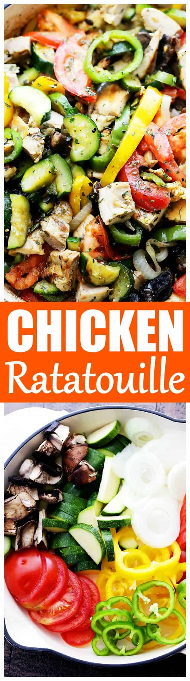 Chicken Ratatouille Recipe - A quick and delicious 30-minute, one-skillet meal packed with fresh garden vegetables, herbs, and chicken.