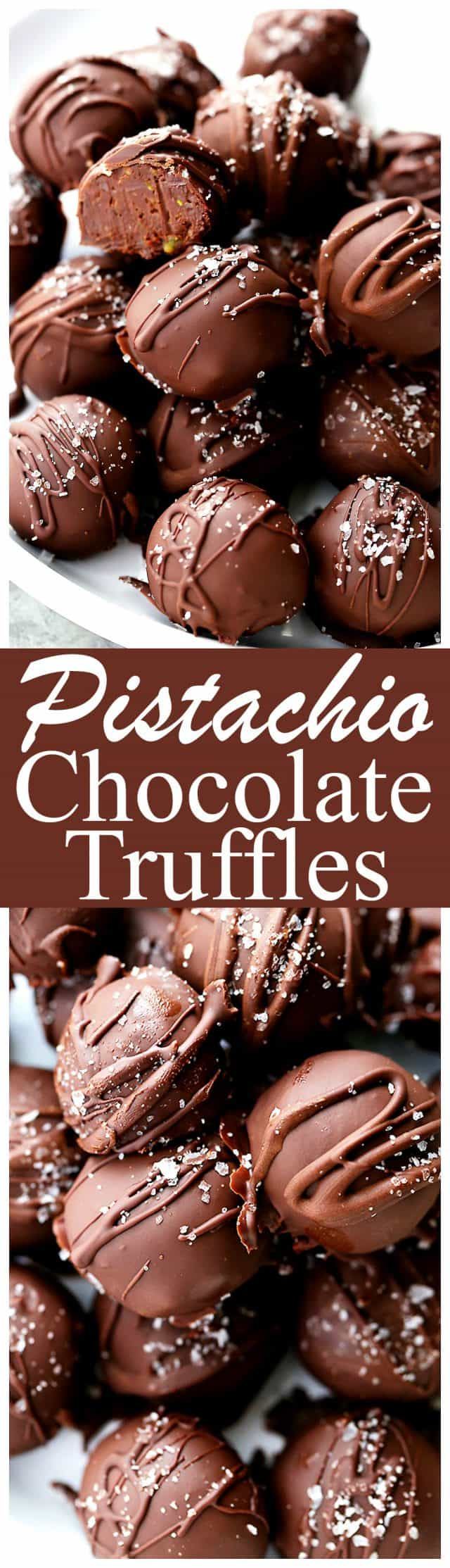 Salted Pistachio Dark Chocolate Truffles - Decadent chocolate truffles made with a rich dark chocolate and pistachio mixture, and sprinkled with sea salt.
