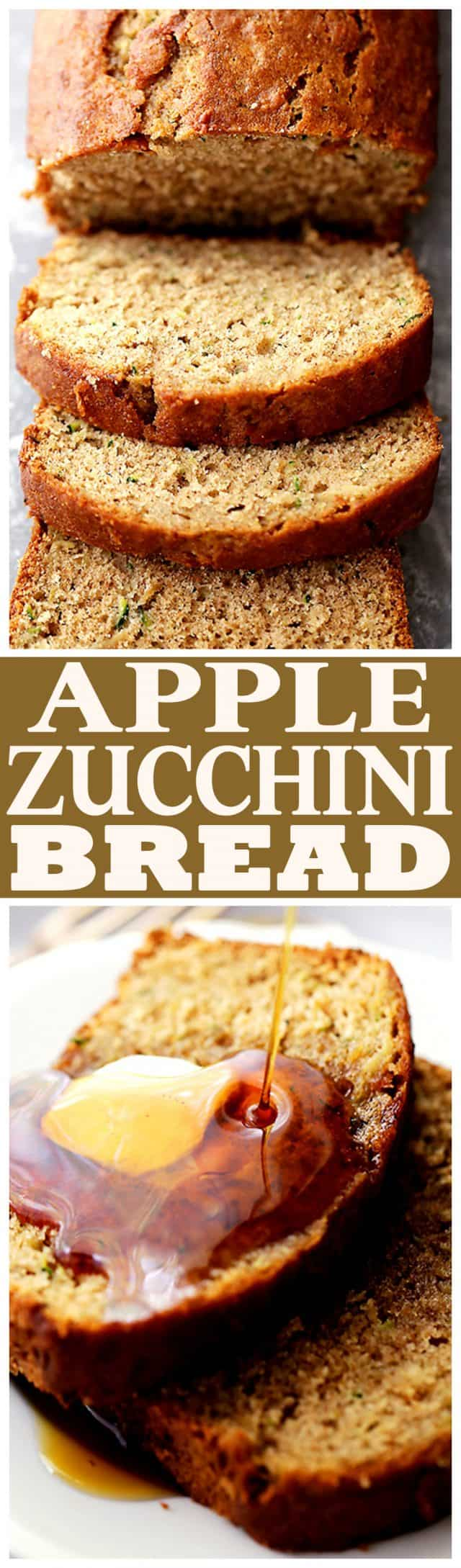 Healthy Apple and Zucchini Bread - Fluffy, moist, sweet, and delicious whole wheat quick bread made with zucchini and apples.