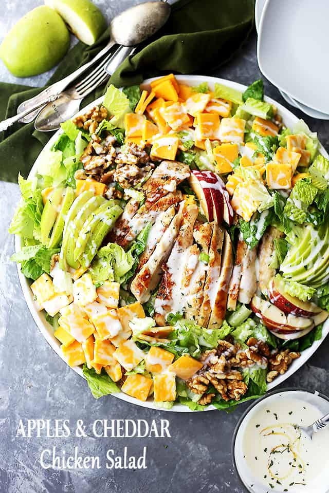Apples and Cheddar Chicken Salad Recipe - Apples, cheddar cheese and walnuts pack a delicious crunchy bite in this Chicken Salad with Honey Yogurt Dressing.