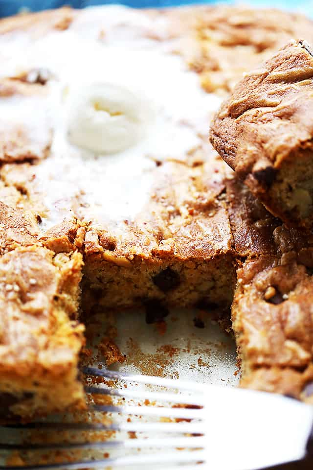 Pan with baked Chango Bars (Chocolate Chip Blondies)