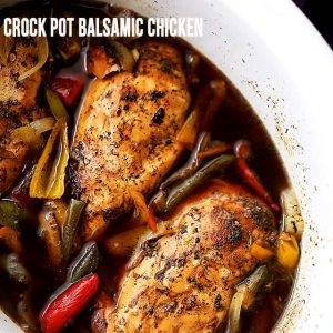 Crock Pot Balsamic Chicken - Light, easy, and perfect for weeknight dinners, or even game days, this flavorful chicken dish is cooked in the crock pot to a tender perfection with vegetables and balsamic vinegar.