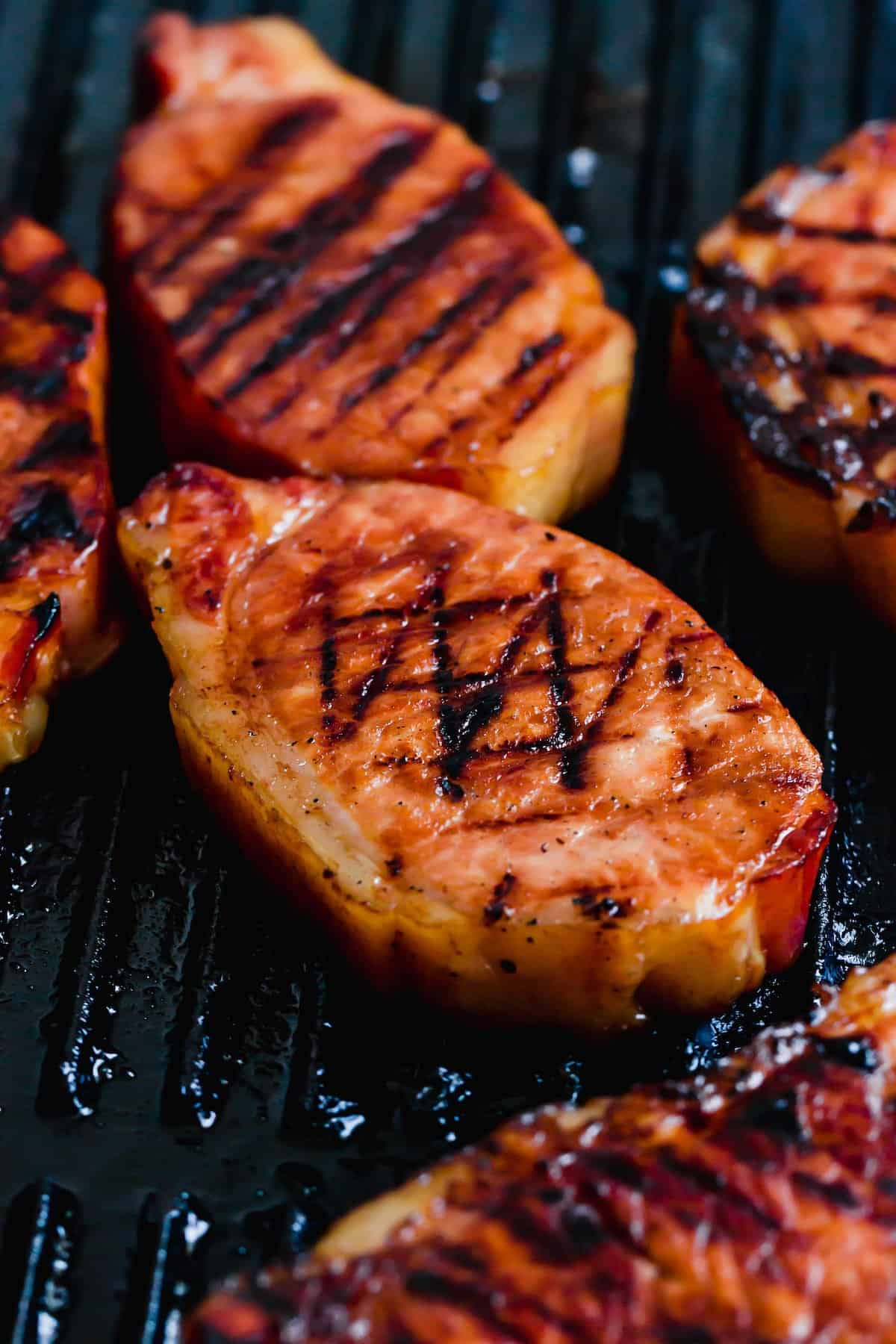 Pork chops on the grill.