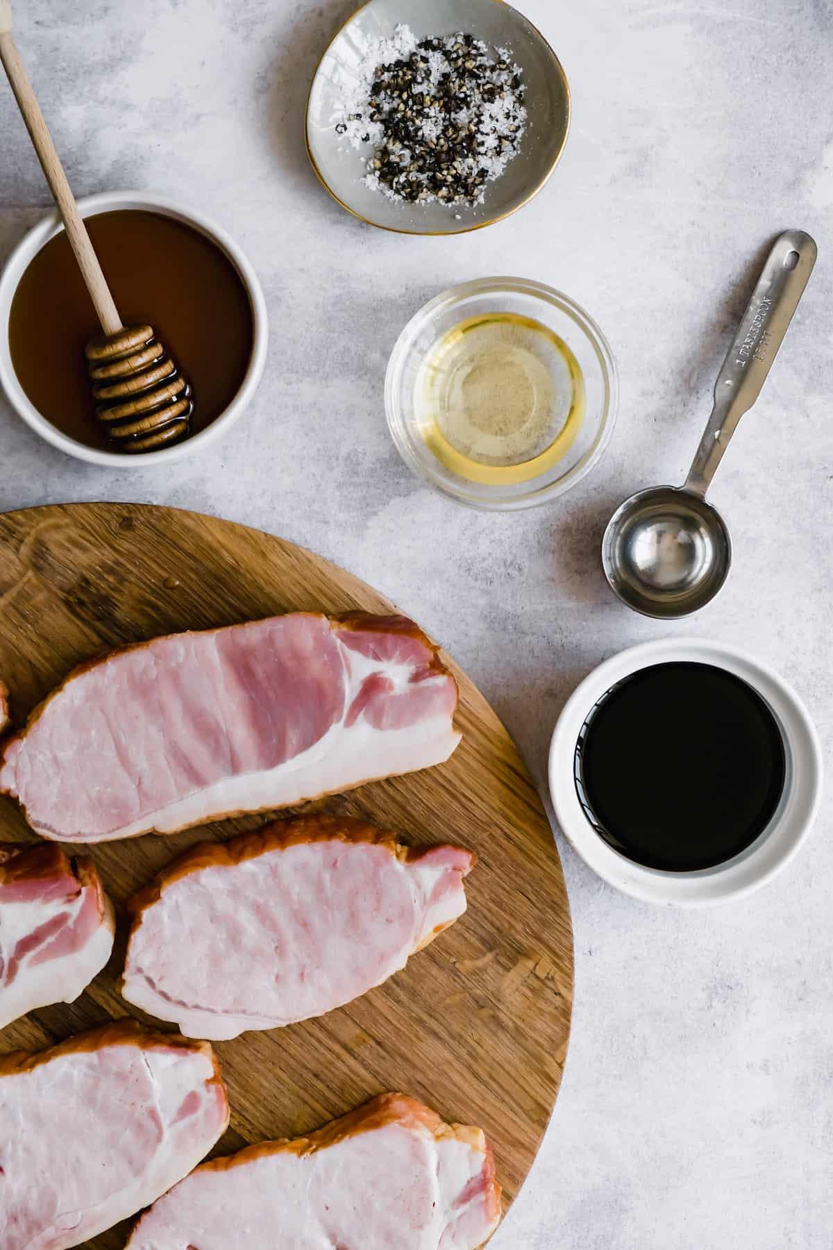 Ingredients for honey soy pork chops.