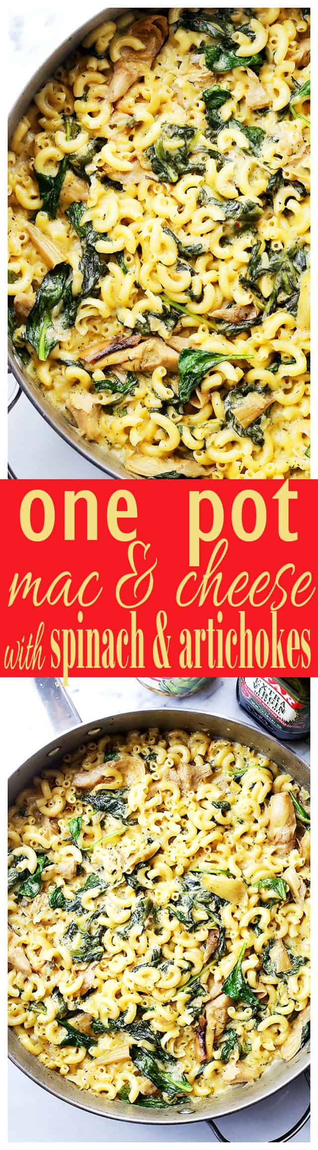 One Pot Spinach & Artichokes Macaroni and Cheese - Stove top one-pot Mac 'n Cheese packed with spinach and artichokes, and a creamy cheese sauce. Dinner will be ready in under 30 minutes!