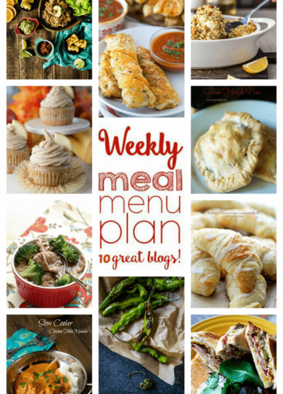 Weekly Meal Plan Week 64 – 10 great bloggers bringing you a full week of recipes including dinner, side dishes, and desserts!