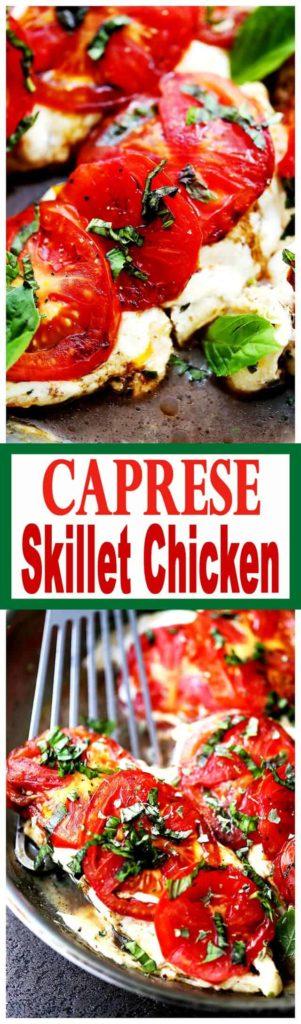 Caprese Skillet Chicken Recipe   Easy Pan Seared Chicken Breast Dinner