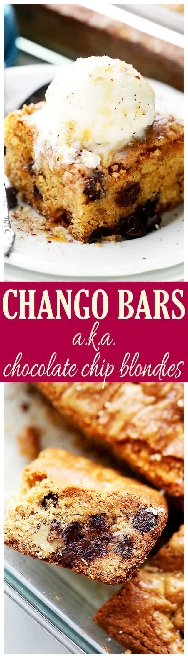 Chango Bars (Chocolate Chip Blondies) - Irresistible, chewy, classic cookie bars loaded with chocolate chips and deliciousness! It's a recipe everyone will be asking for!