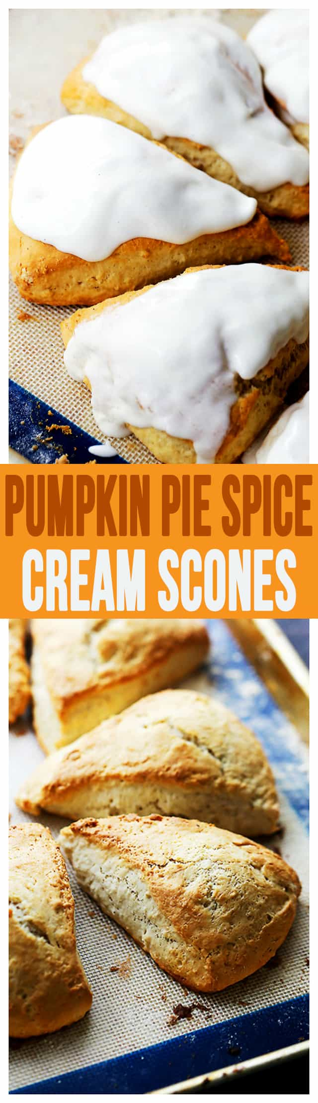 Pumpkin Pie Spice Cream Scones - Plump, rich, yet light and sweet scones flavored with pumpkin pie spice creamer and a simple spiced glaze.