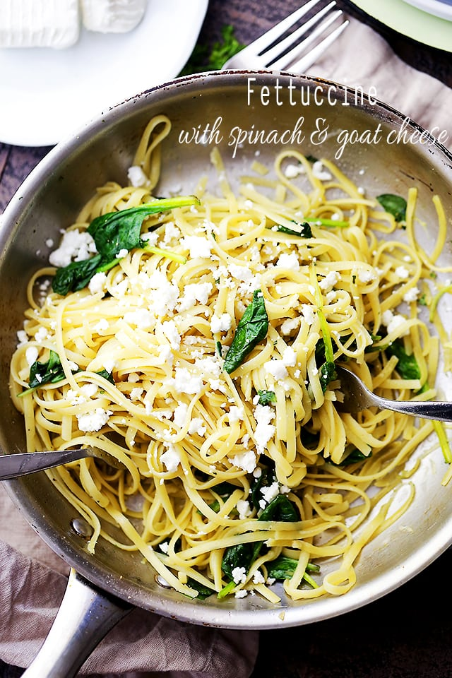 Fettuccine with Spinach and Goat Cheese in a skillet.