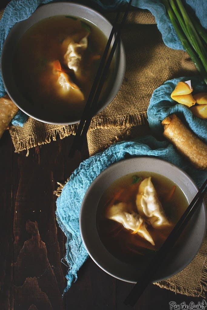 Bowls of homemade dumpling soup