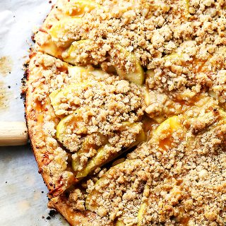 Gluten Free Caramel Apple Pizza with Streusel Topping