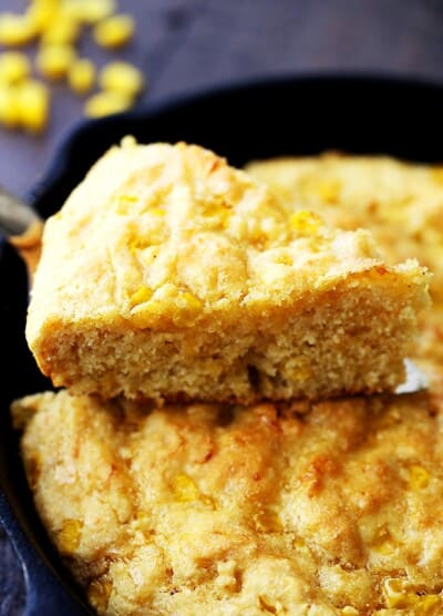Light Skillet Cornbread - Loaded with fresh corn and a handful of cheddar cheese, this flavorful, lightened-up cornbread is the perfect side for your soup or chili!