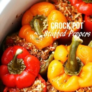 Crock Pot Stuffed Peppers - Loaded with spicy pork sausage, rice and tomatoes, these hearty and flavor-loaded peppers are the easiest and most perfect meal to serve to your family, and are also great for game day parties!