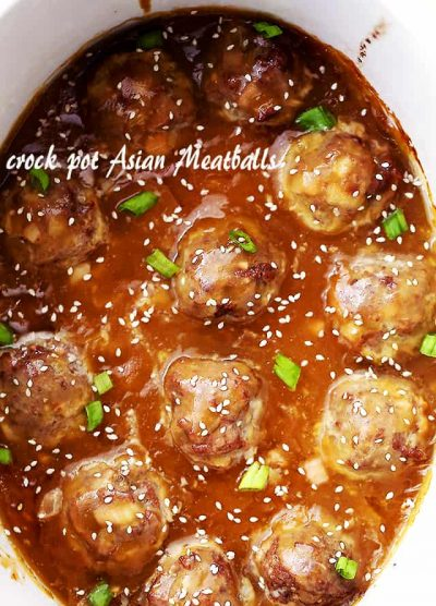 Crock Pot Asian Meatballs - Tender and juicy meatballs slow cooked in an amazing sweet and tangy pineapple-soy sauce. These are perfect for dinner, game days, or any and all celebrations!
