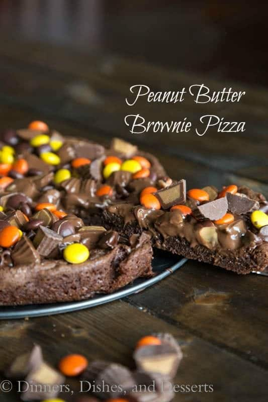 Peanut Butter Brownie Pizza cut into wedges