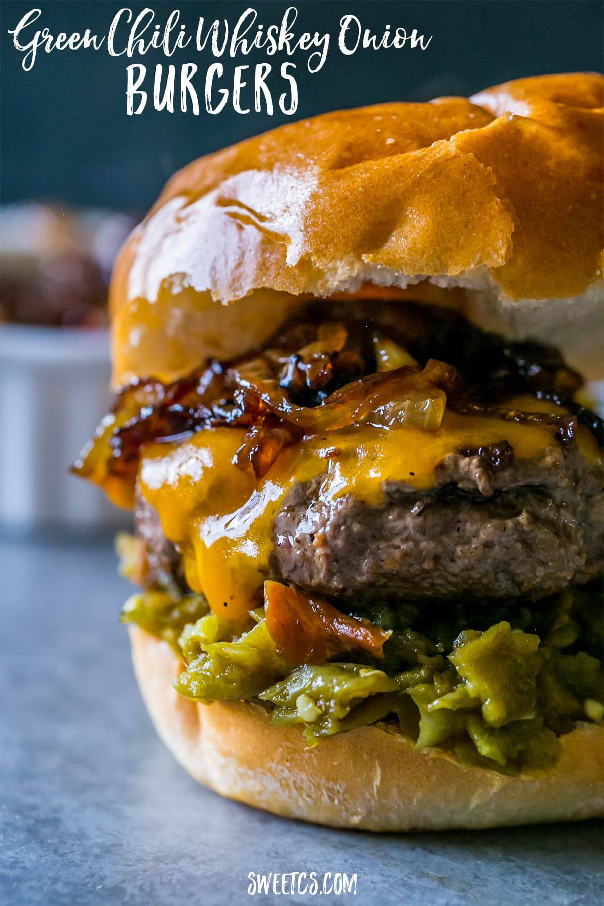 Green Chili Whiskey Onion Burger in a bun