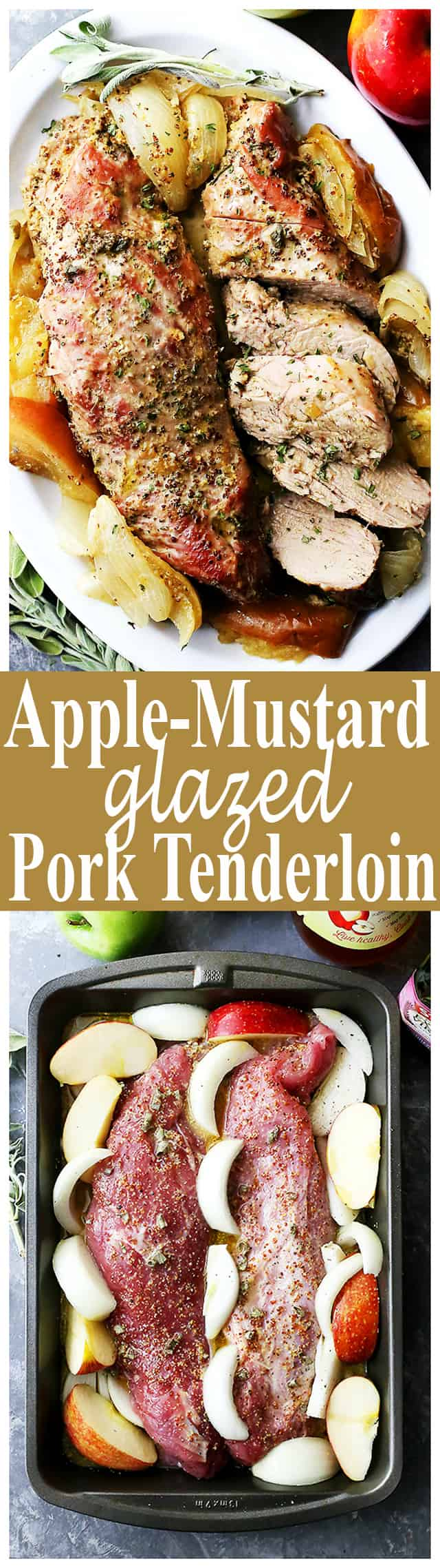 Apple Mustard Glazed Pork Tenderloin - Not only is this pork tenderloin juicy, delicious, and addictive, but it is also very, very easy to make! Pour on the apple-mustard glaze and pop it in the oven!