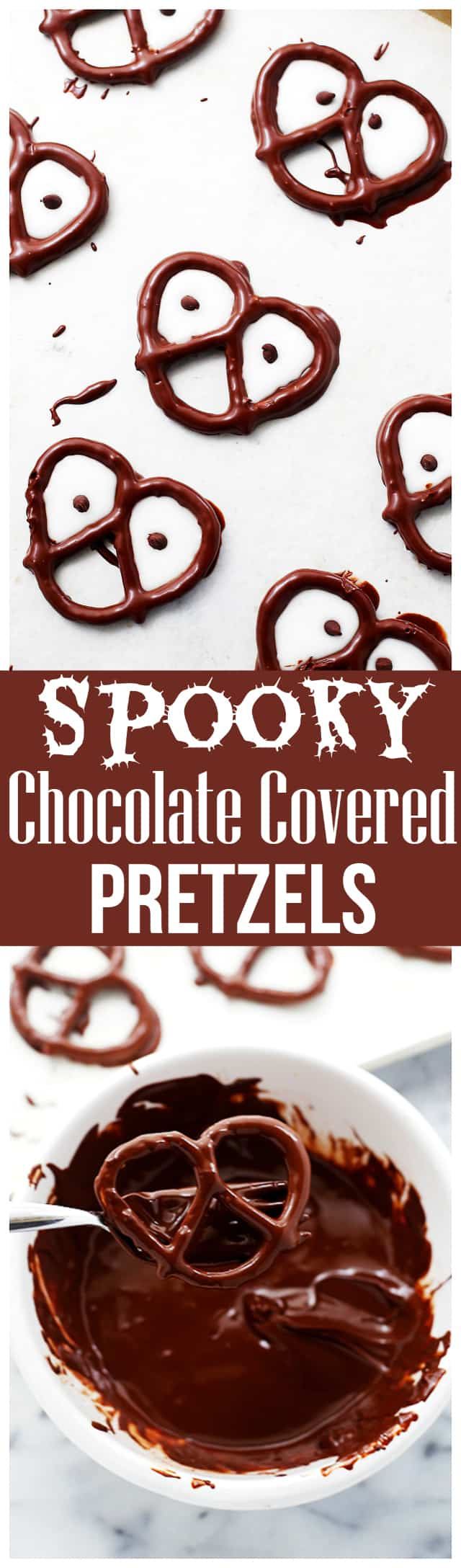 Halloween Chocolate Covered Pretzels - Easy, salty, sweet and eek! Chocolate-covered pretzels SO good IT'S scary!