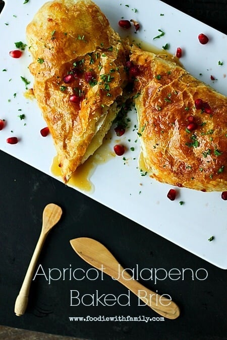 Apricot Jalapeno Baked Brie on a plate