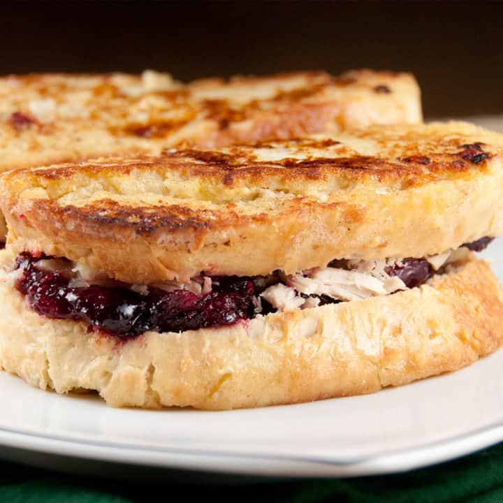 Turkey cranberry monte cristo sandwich on a plate