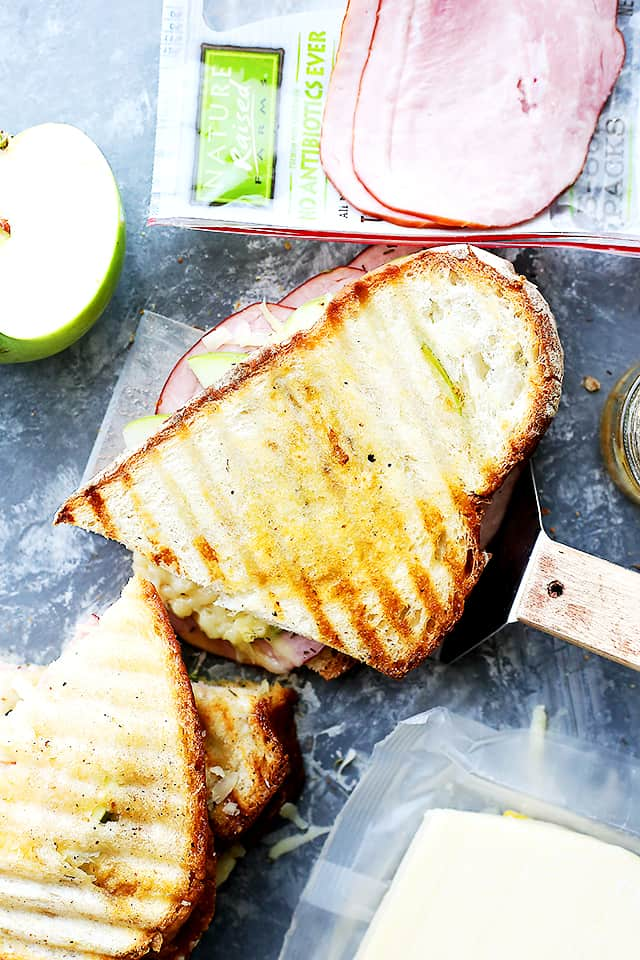 Ham and Apple Grilled Cheese Sandwiches - Transform the classic grilled cheese sandwich with a perfect combination of flavors and textures including apples, ham, and gruyere cheese!