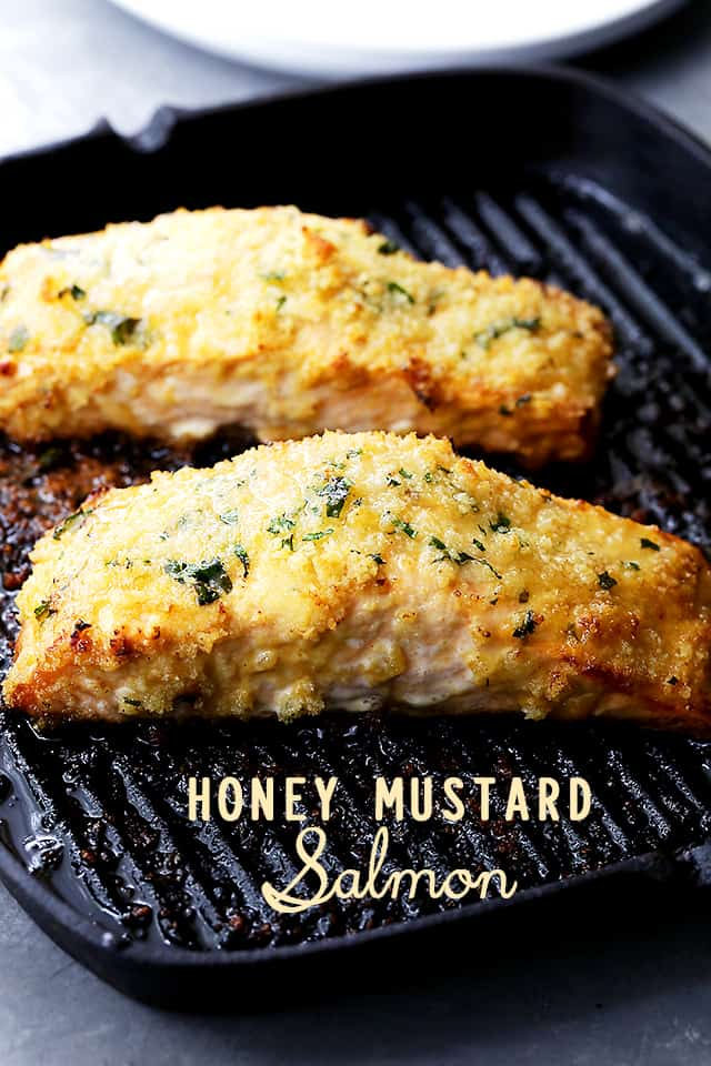 Honey Mustard Salmon fillets on a grill pan