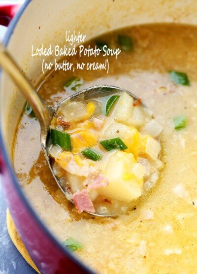 Lighter Loaded Baked Potato Soup - Lightened-up yet just as delicious Loaded Baked Potato Soup featuring bacon and cheese, sans butter and cream!