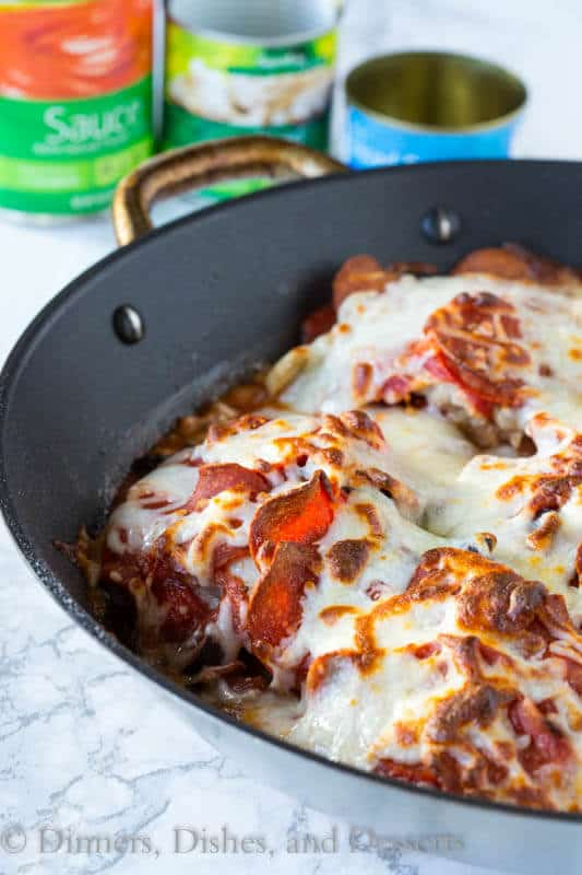 One Pan Pizza Chicken in a skillet