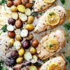 Sheet Pan Honey Garlic Lemon Chicken with Potatoes - Delicious and super easy weeknight dinner featuring flavorful and juicy chicken breasts cooked on a single pan with roasted potatoes!