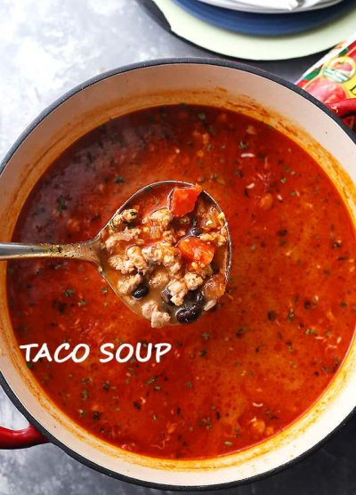 Taco Soup Recipe - All you will need is about 30 minutes for this delicious and comforting one pot Taco Soup packed with taco meat, tomatoes, and beans! SO easy and great for weeknights!