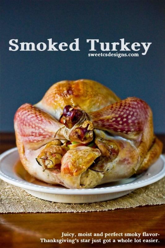 A whole smoked turkey on a platter
