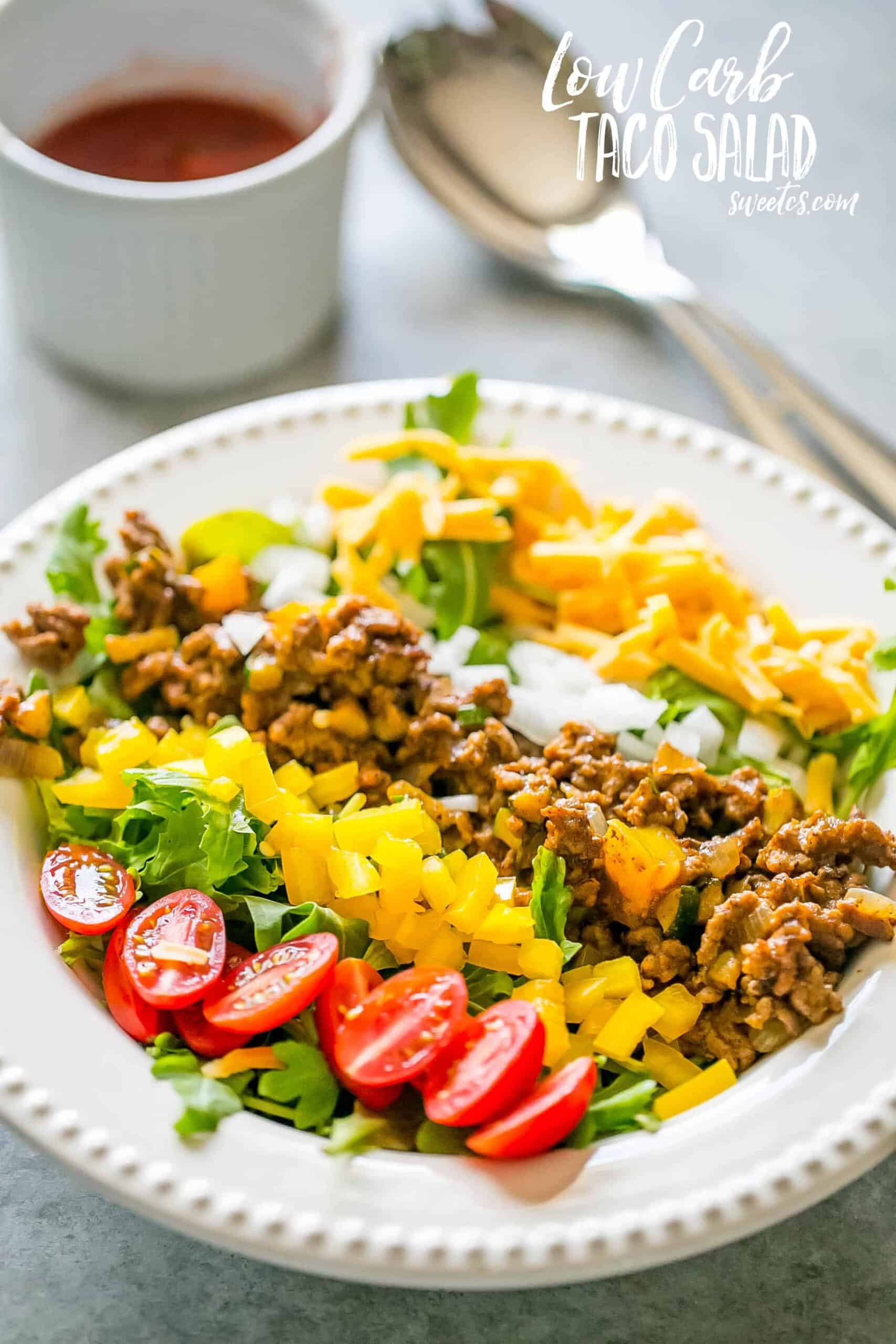 Taco Salad on a plate with rows of vegetables and ground meat over lettuce