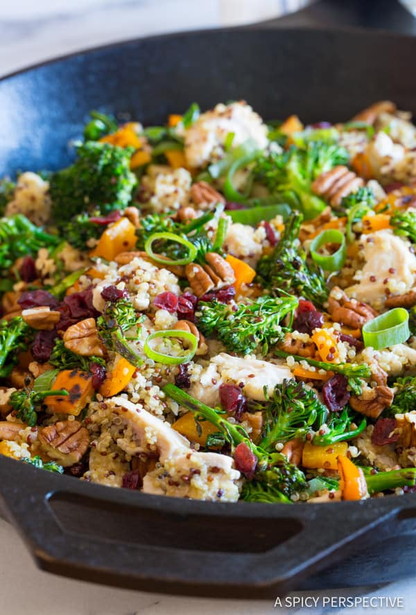 Chicken Broccoli Quinoa skillet with scallions, pecans and dried cranberries