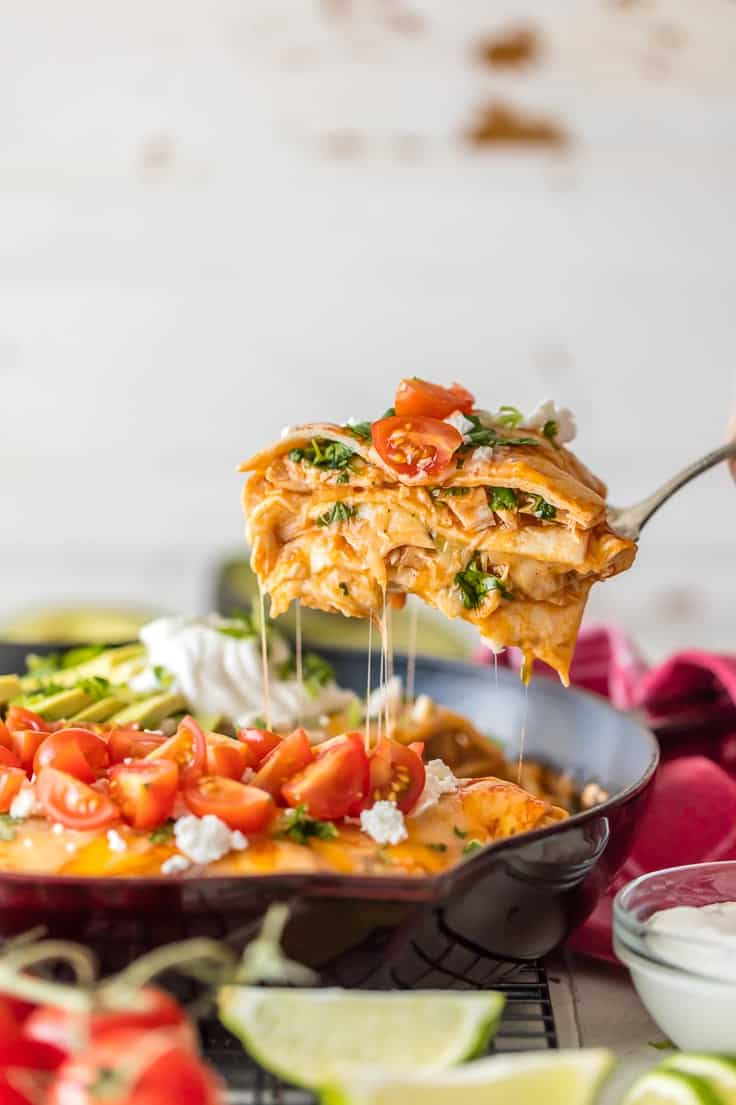 Chicken Enchilada Skillet Pie in a cast iron skillet