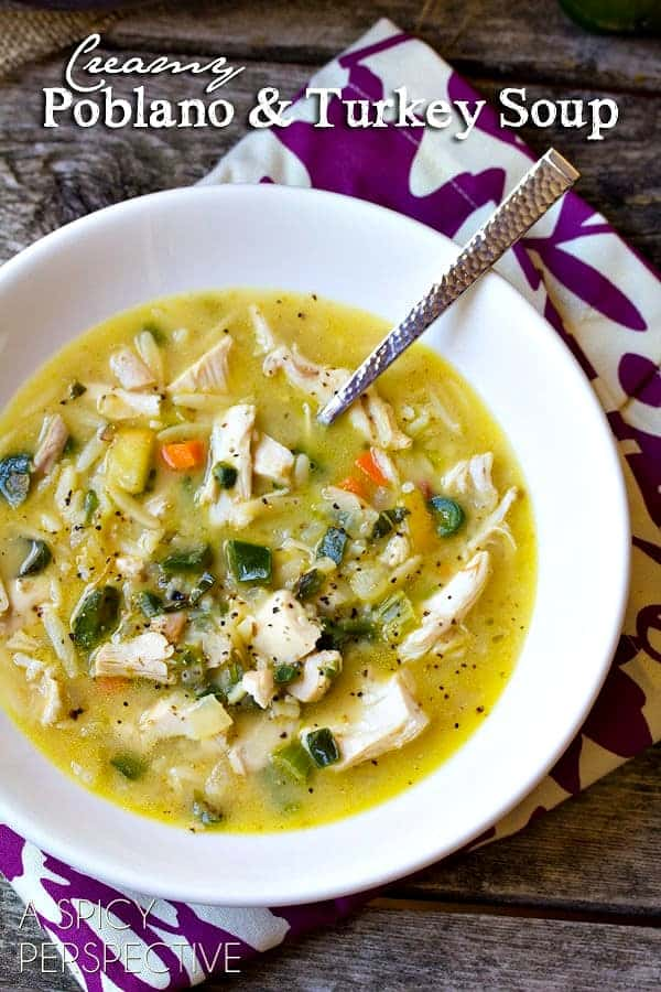 Creamy Poblano and Turkey Soup in a bowl